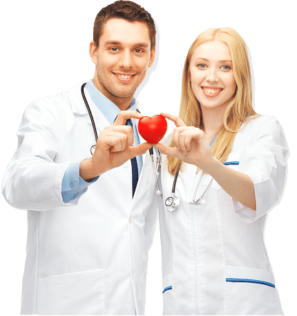couple doctor holding heart