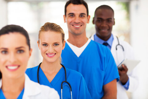 group of smiling nurses